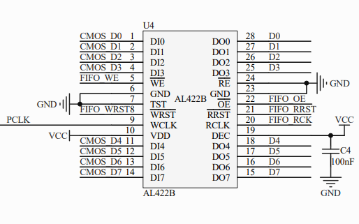 CMOS FIFO摄像头电路原理图免费下载