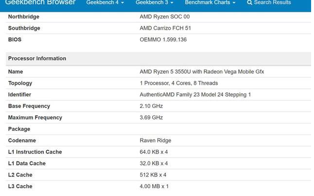 AMD推出Ryzen 5 3550U APU