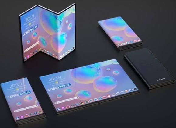 三星折叠屏概念图与小米折叠屏专利图曝光三星为内折...