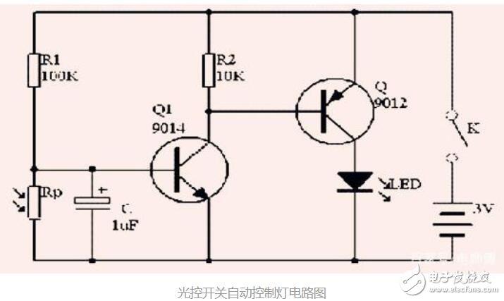 简单实用的光控开关自动控制灯电路