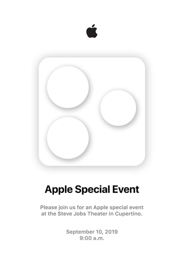 苹果秋季新品邀请函疑似曝光,iPhone11系列采用矩阵摄像头设计