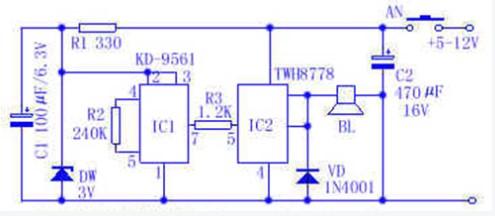警笛音发生器电路的工作原理及电器件的选择