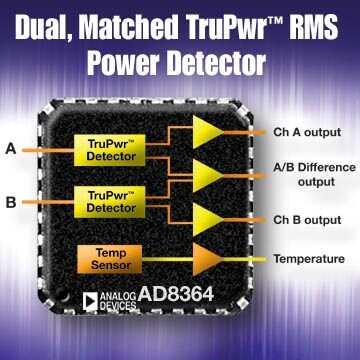 双通道均方根功率检测器能精确测量RF信号