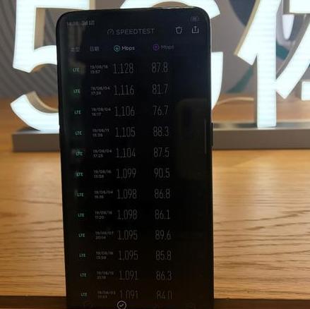 OPPO Reno 5G版手机测速5G下载速率已全部达到了1000Mbps以上
