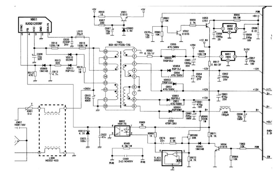 康佳t5429d型彩色电视机的电路原理图免费下载