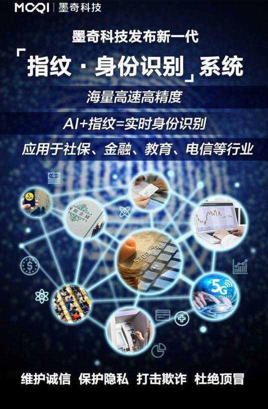 """墨奇科技新一代""""指纹-身份识别""""AI系统"""
