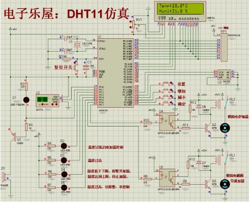 C51单片机实现DTH11温湿度传感器测量仿真的设计