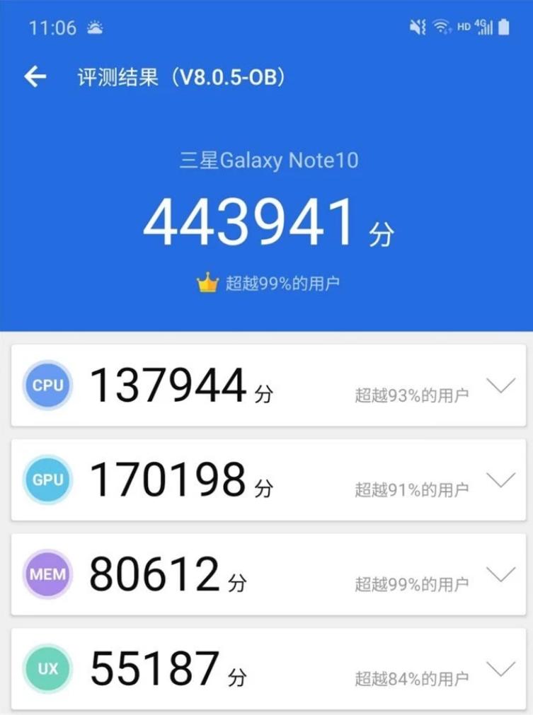 三星Note 10+5G国行Galaxy Note的跑分,达456666分