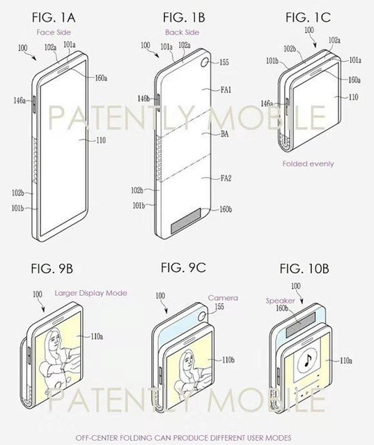 三星新申请的折叠屏专利图曝光采用了向后翻折的方式