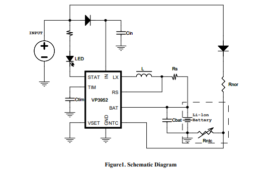 VP3952同步降压式锂离子电池充电器芯片的数据手册免费下载