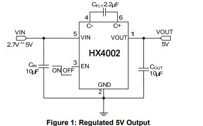HX4002低噪音调节电荷泵DCDC转换器的数据手册免费下载
