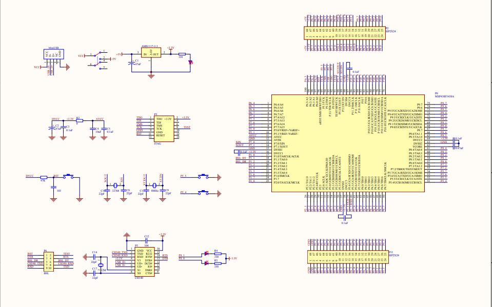 MSP430F5438A微控制器最小系统电路原理图免费下载