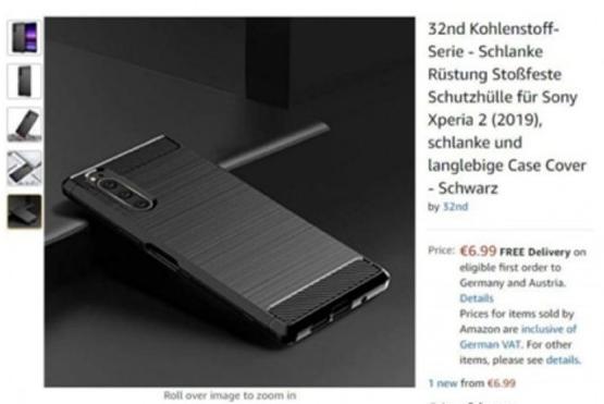 索尼Xperia 2保護套上架亞馬遜已證實了該機采用了21:9的帶魚屏