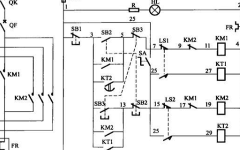 電氣工業控制電路之按時間自動往返正反轉控制