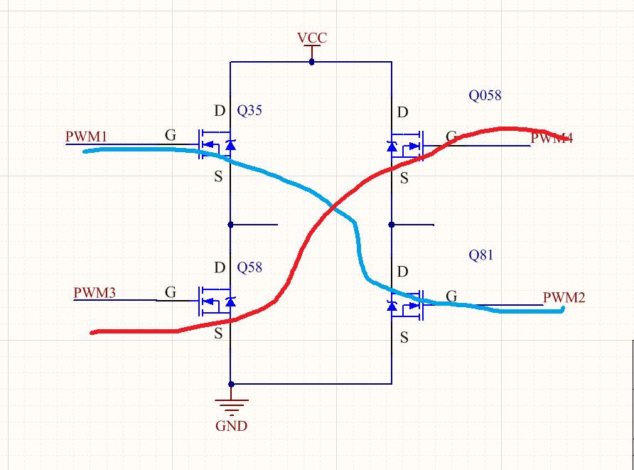4个NMOS组成的全桥驱动电路