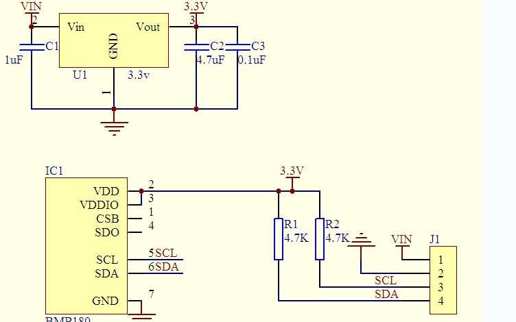 BMP180气压传感器的数据手册和Arduino测试程序及尺寸图与电路图