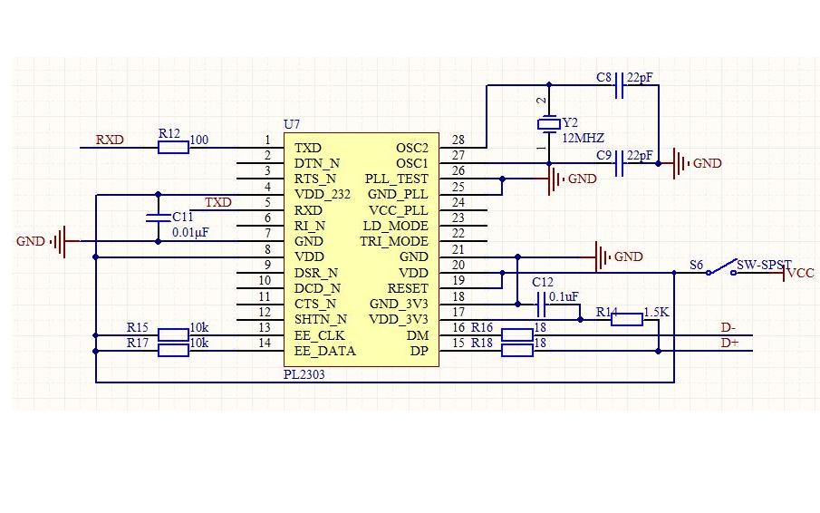 PL2303 USB转UART串口模块的PcbDoc文件免费下载