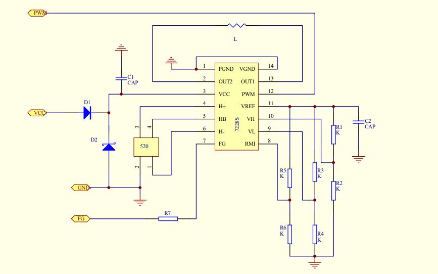直流无刷风扇7228ic的电路原理图免费下载