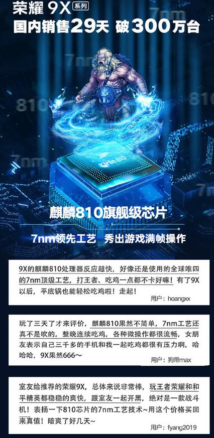 荣耀9X系列搭载麒麟810处理器游戏性能十分强悍