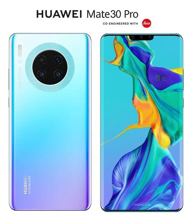 """华为Mate30Pro最新渲染图曝光,与之前摄像头采用""""十""""字排列不同"""