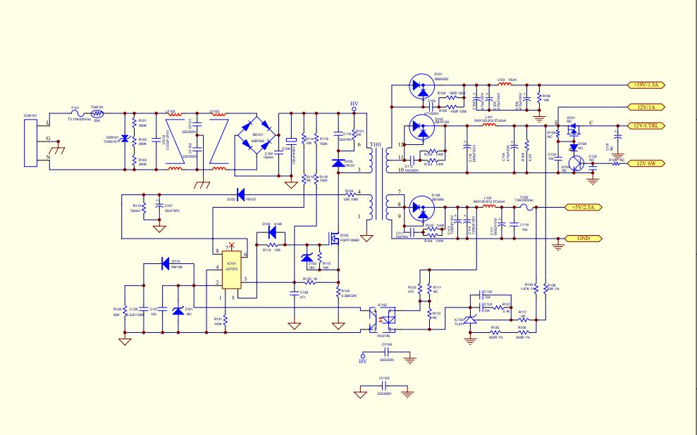 联想L195WE显示器电源板的电路原理图免费下载