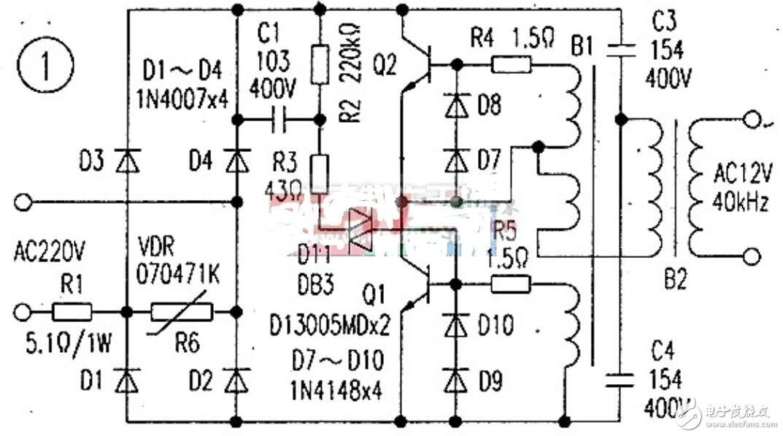 石英灯电子变压器电路图