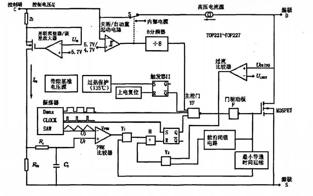 TOP221P的特點及工作原理介紹及在開關電源中的應用說明