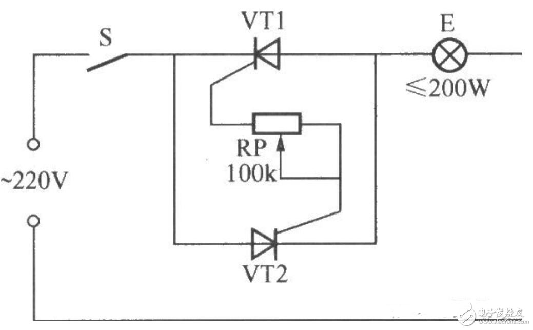 单向晶闸管调光电路