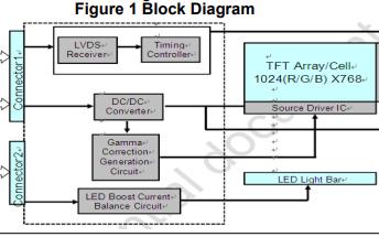 YC121FH-A00彩色有源矩阵薄膜晶体管液晶显示器的数据手册免费下载