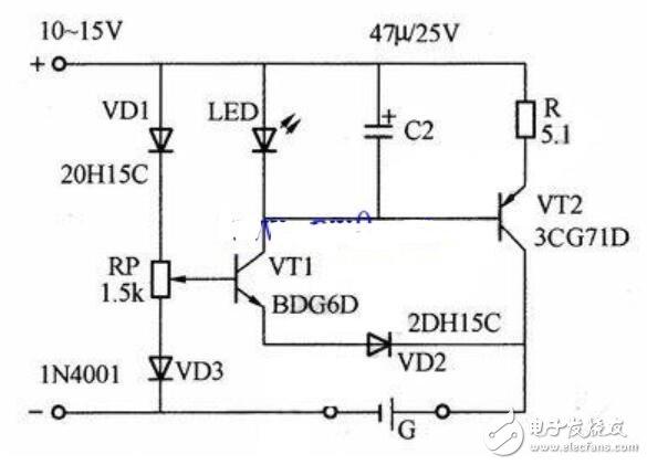 电池自动恒流充电电路