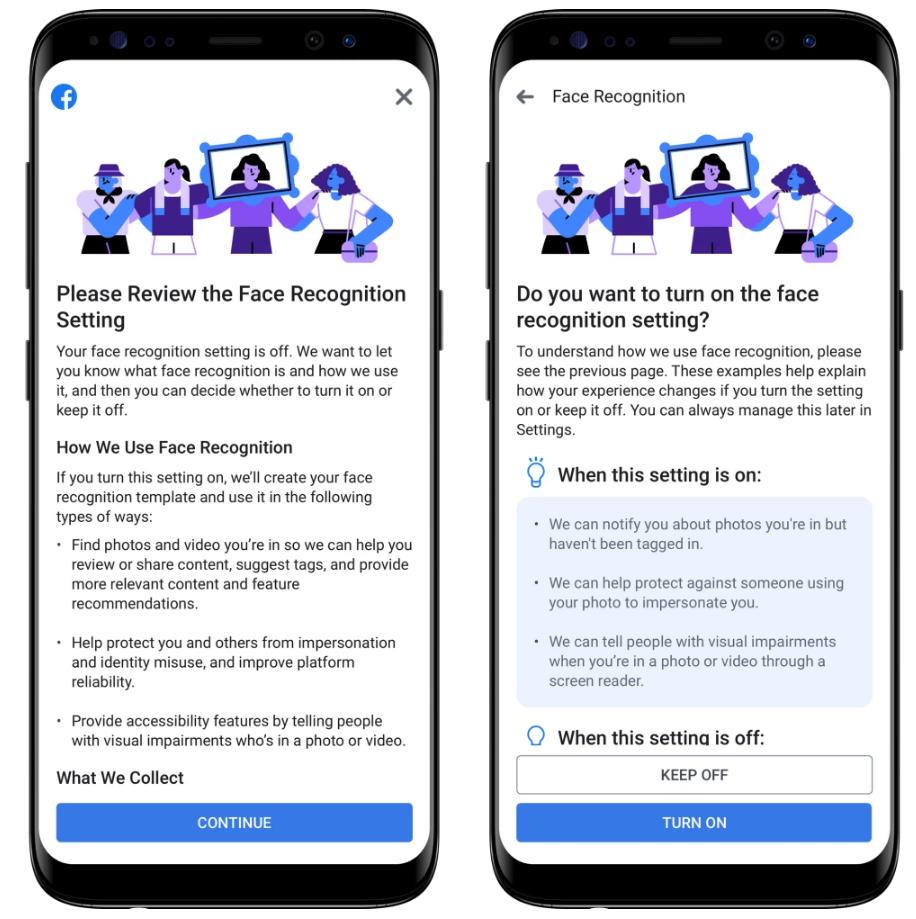 Facebook将向用户提示有关人脸识别功能的信息