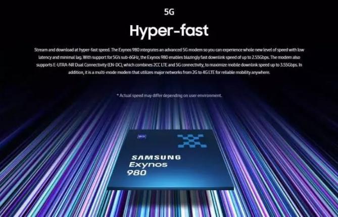 三星发布首款集成5G的处理器Exynos 980,用8nm工艺打造