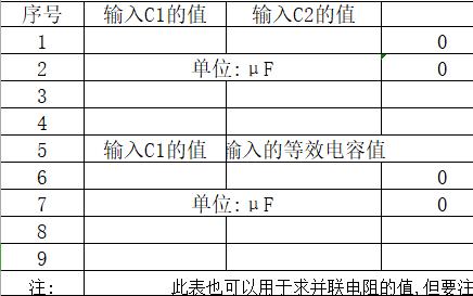 电容串联计算表使用工具免费下载