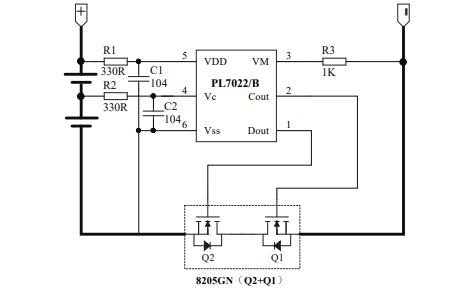 PL7022双节可充电锂电池保护电路芯片的数据手册免费下载