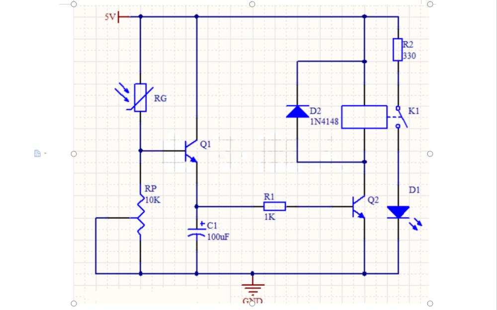 使用光敏电阻实现光控延时开关电路的电路图和分析详细