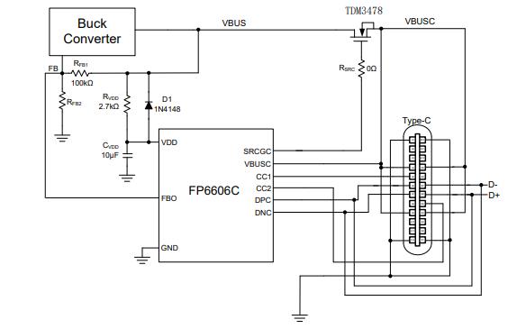 FP6606C USB C型和PD充电控制器的数据手册免费下载