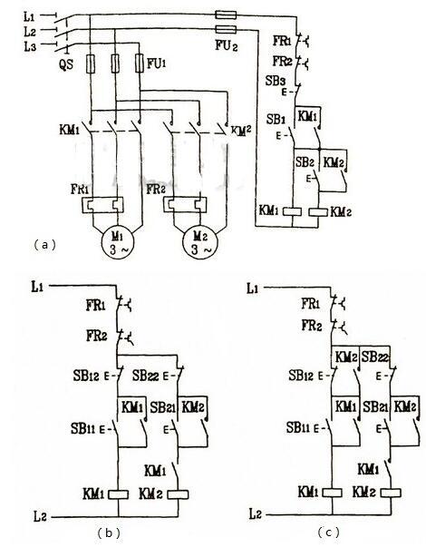 三相电机顺序启动控制电路图