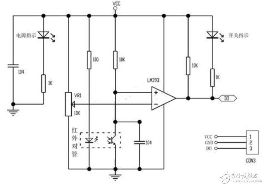 紅外避障傳感器原理圖_紅外傳感器避障模塊電路圖