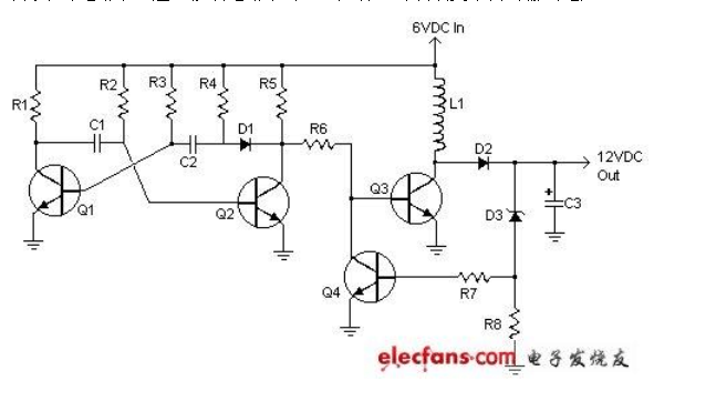 6v轉12v的逆變電路圖和電路分析