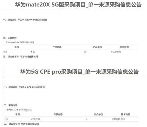 中国移动将向华为终端公司采购两种5G终端产品共计25万台