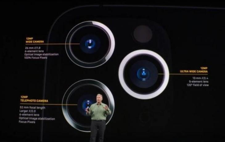 iPhone 11 Pro的背面的三个摄像头