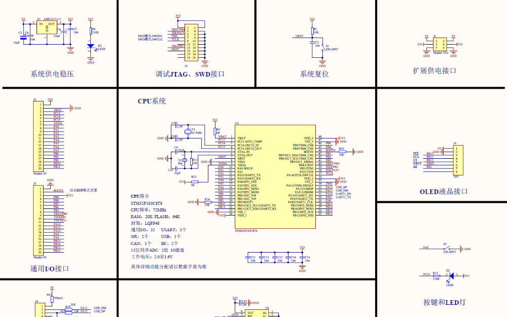STM32F103C8T6微控制器的电路原理图免费下载
