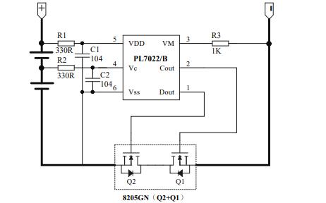 PL7022和双节可充电锂电池保护电路芯片数据手册免费下载