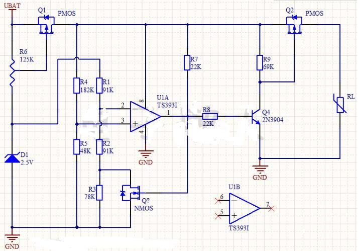 R7和电阻R4组成一个采样电路,采样电池电压比与基准电压进行比较。   4、电阻R6为正反馈电阻,起到加速比较器翻转的作用,同时形成迟滞的效果。从而产生两个门限值。   加速比较器翻转的理解过程:   当电池电压上升,使同相端电压大于反相端电压时,比较器的输出开始翻转,即从0上升至1的过程,当比较器的输出电压超过同相端电压时,输出就会通过反馈电阻R6向同相端注入电流,使同相端电压进一步增加,这样就促进输出的电压进一步上升更快,这样又促使通过反馈电阻R6向同相端注入更多电流,如此循环,使比较器输出完成