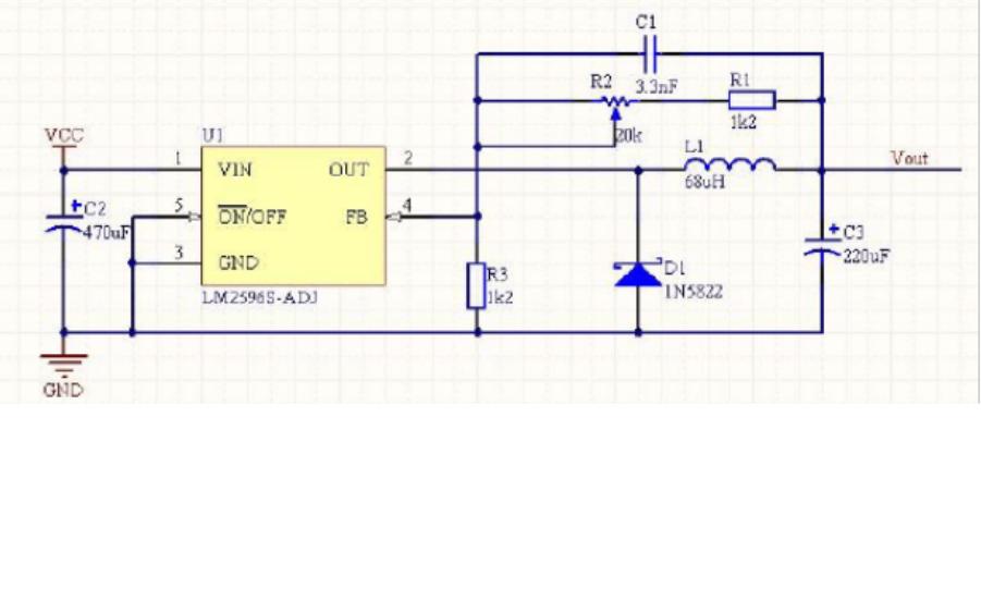 LM2596开关电源调节器降压电路分析和原理图PCB结构图免费下载