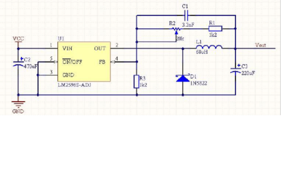 LM2596開關電源調節器降壓電路分析和原理圖PCB結構圖免費下載