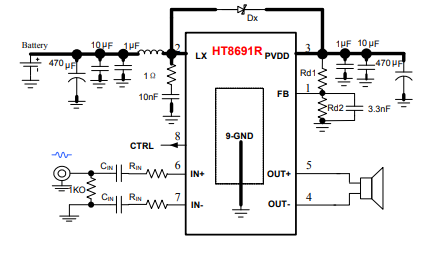 HT8691R內置BOOST升壓模塊的D類音頻功率放大器的數據手冊免費下載