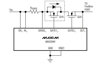 MAX5944双FireWire限流器和低压差开关控制器电源管理芯片的数据手册