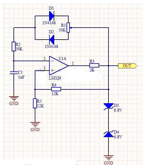 占空比可调的矩形波电路工作过程