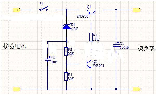 蓄电池放电保护电路讲解